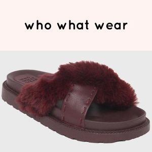 NWT who what wear Kassandra Faux Fur Slide Sandals